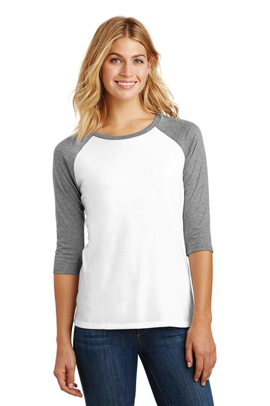 District Made ®  Ladies Perfect Tri ®  3/4-Sleeve Raglan. DM136L