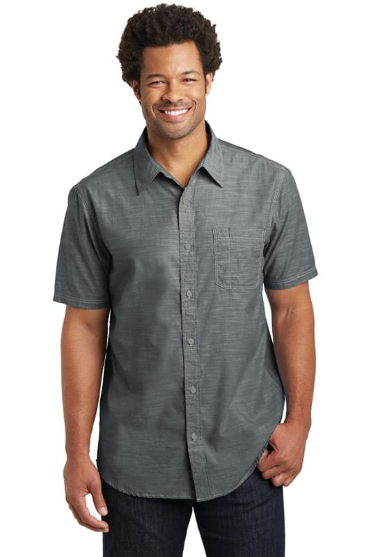 District Made ®  Mens Short Sleeve Washed Woven Shirt. DM3810
