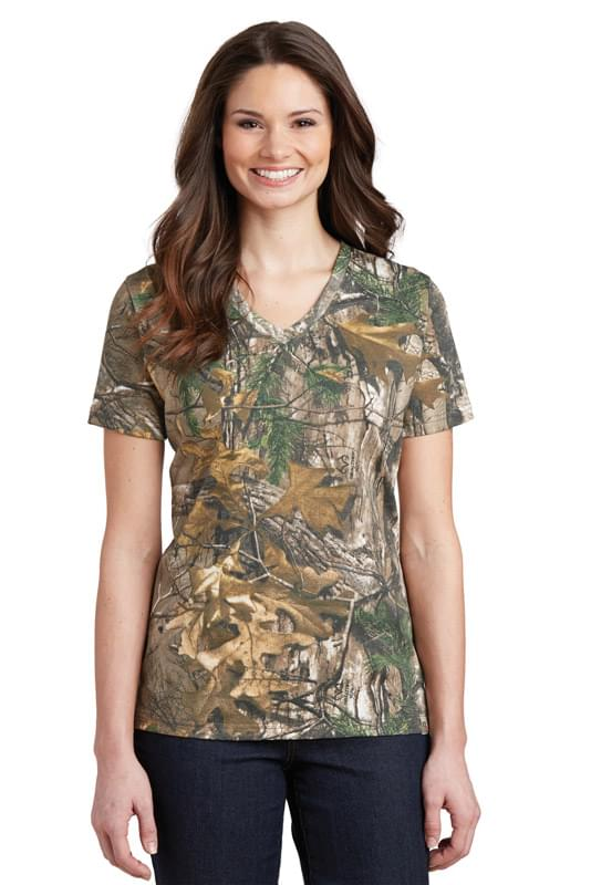 Russell Outdoors ™  Realtree ®  Ladies 100% Cotton V-Neck T-Shirt. LRO54V