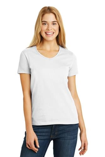 Hanes ®  Ladies Tagless ®  100% Cotton V-Neck T-Shirt. 5780