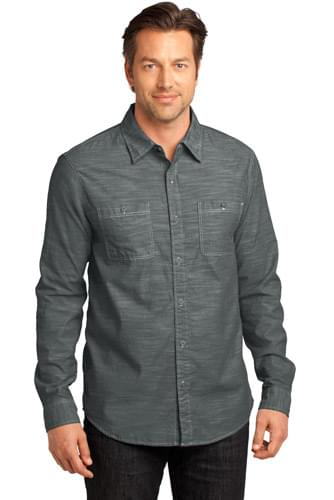 District Made® - Mens Long Sleeve Washed Woven Shirt. DM3800