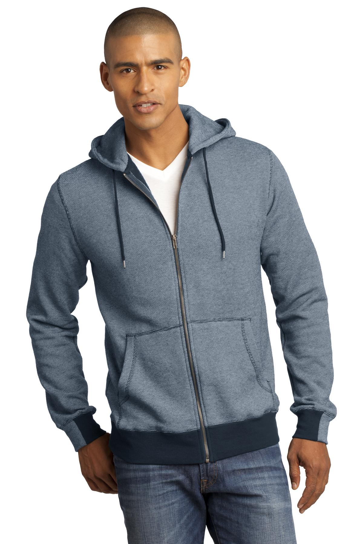 District Made ®  - Mens Mini Stripe Full-Zip Hoodie. DM390