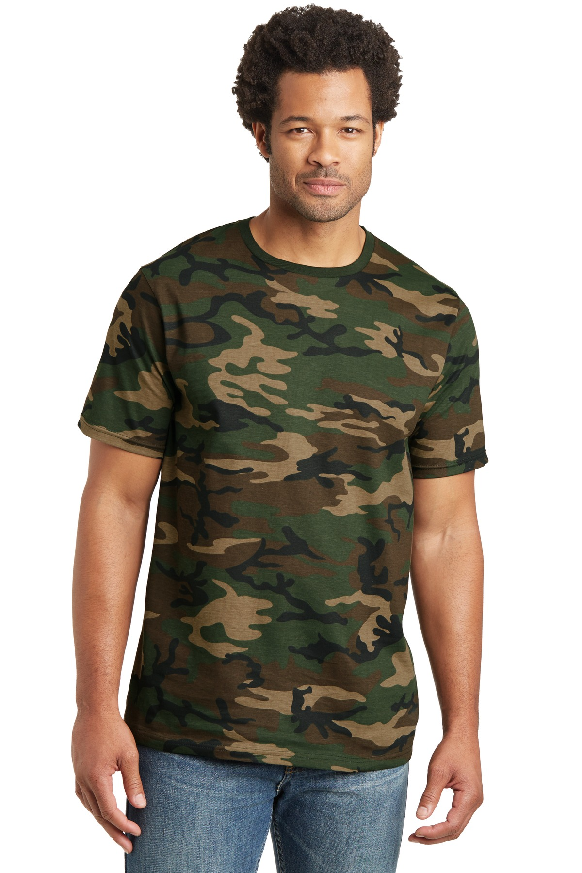 District Made ®  Mens Perfect Weight ®  Camo Crew Tee. DT104C