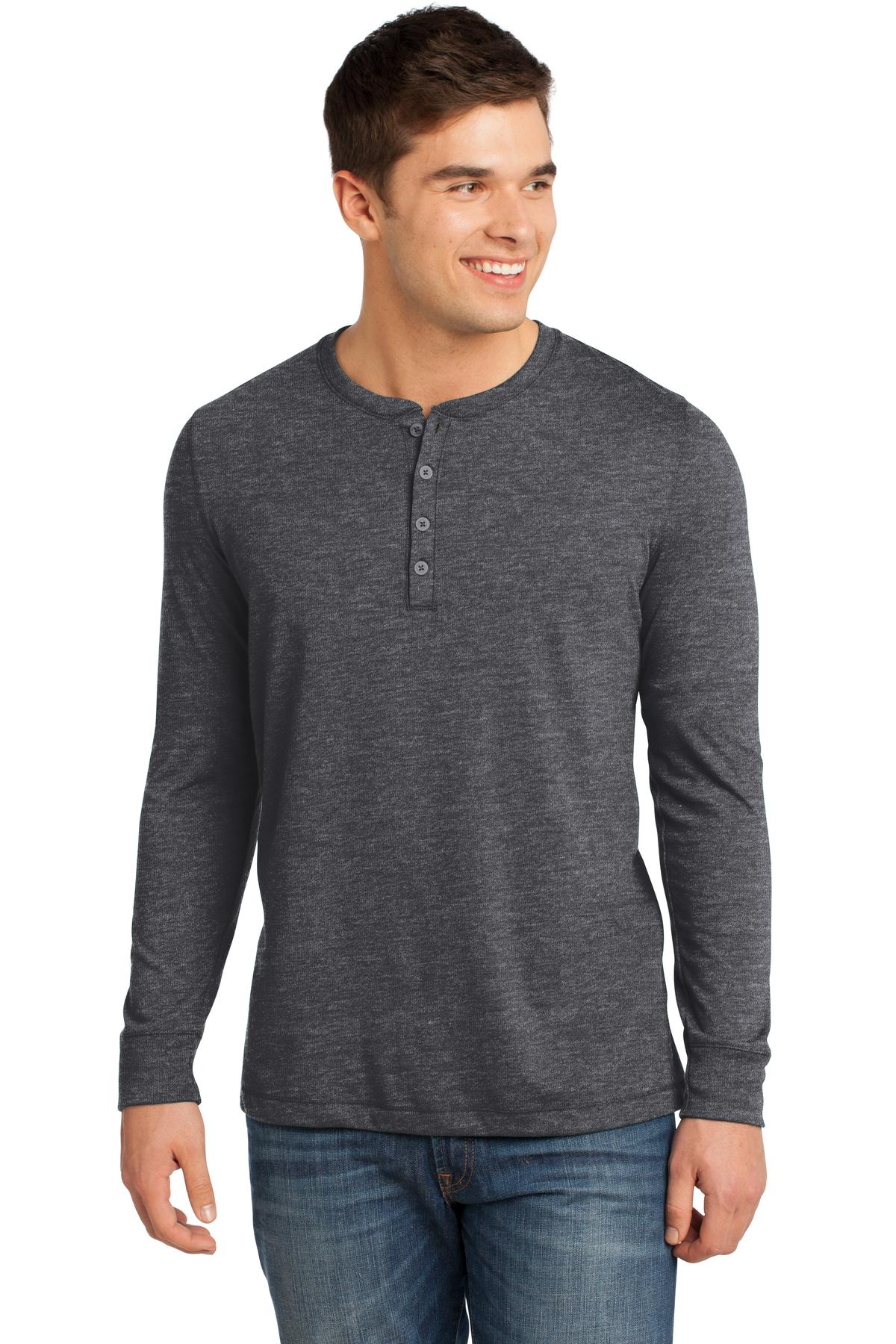District ®  - Young Mens Gravel 50/50 Long Sleeve Henley Tee. DT1401