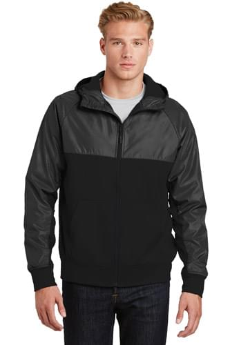 Sport-Tek ®  Embossed Hybrid Full-Zip Hooded Jacket. JST50