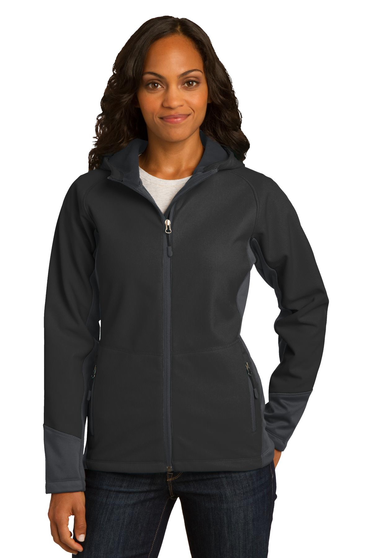 Port Authority ®  Ladies Vertical Hooded Soft Shell Jacket. L319