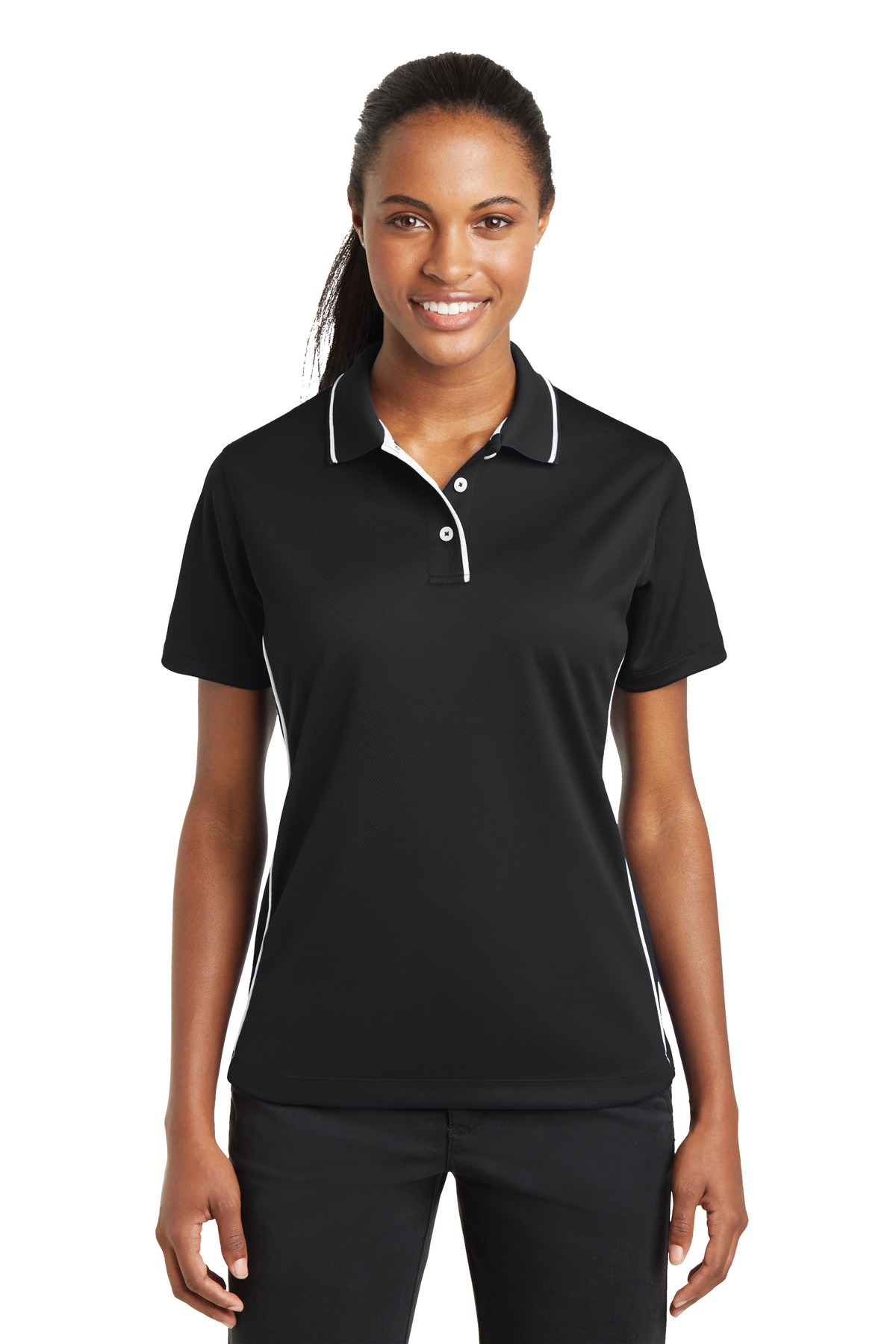 Sport-Tek ®  Ladies Dri-Mesh ®  Polo with Tipped Collar and Piping.  L467