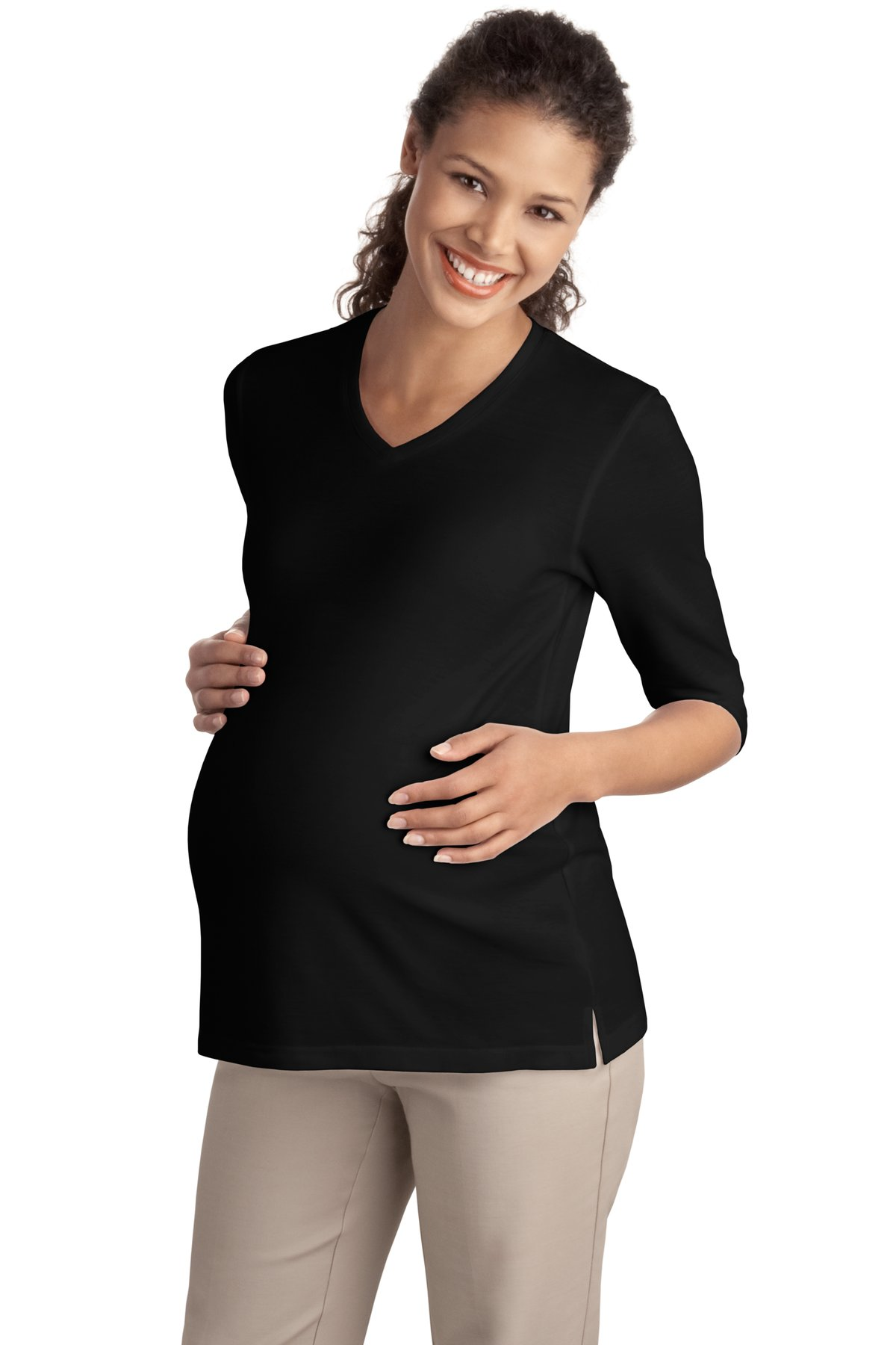Port Authority ®  Ladies Silk Touch™ Maternity 3/4-Sleeve V-Neck Shirt. L561M