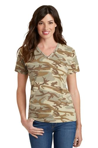 Port & Company ®  Ladies Core Cotton Camo V-Neck Tee.  LPC54VC