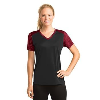 Sport-Tek ®  Ladies CamoHex Colorblock V-Neck Tee. LST371
