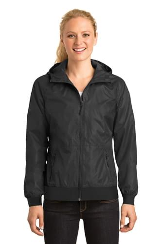 Sport-Tek ®  Ladies Embossed Hooded Wind Jacket. LST53