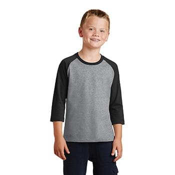 Port & Company ®  Youth Core Blend 3/4-Sleeve Raglan Tee. PC55YRS