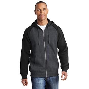 Sport-Tek ®  Raglan Colorblock Full-Zip Hooded Fleece Jacket.  ST269