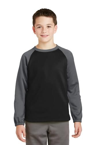 Sport-Tek ®  Youth Sport-Wick ®  Raglan Colorblock Fleece Crewneck. YST242